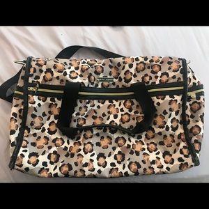 Betsy Johnson leopard duffel bag
